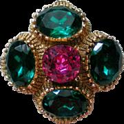 SALE Capri Large Glass Stone Brooch or Pendant