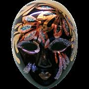 SOLD Porcelain Marti Gras Mask Pin