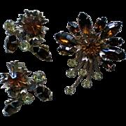 SALE Amber, Brown & Pale Green Rhinestone Brooch / Earrings
