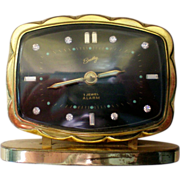 SALE Bradley German Alarm Clock with Rhinestone Numerals