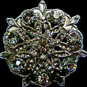 SALE Pot Metal Rhinestone Brooch / Pendant