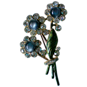 SALE Moon Stone Pot Metal Rhinestone Flower Bouquet Brooch