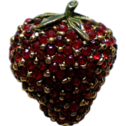 SALE Ruby Red Pave Rhinestone Strawberry Fruit Pin