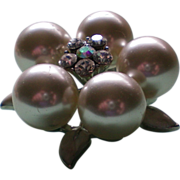 SALE Large Faux Pearl Cluster Pin