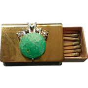 SALE Match Safe with Faux Jade Decoration and Clip