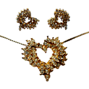 SALE Crystal Rhinestone Heart Pendant & Pierced Earrings