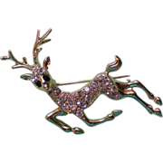 SALE Reindeer Pin with Pave' Crystals / Christmas by Danecraft