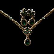 SALE Emerald Green Pendant & Earring Set by 1928 Jewelry