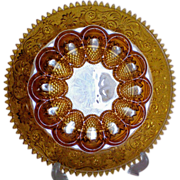 SOLD Amber Saw Tooth Sandwich Glass Deviled Egg Plate