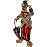 SALE Enameled Hobo Clown with Umbrella Pin