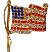 SALE American Flag Rhinestone Pin