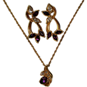 "SALE Avon ""Faux Amethyst"" Pierced Earrings & Pendant Necklace"