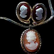 SALE Cameo Pendant with Pierced Cameo Earrings
