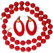 REDUCED Cherry Red Plastic Hoop Earrings and Beaded Necklace