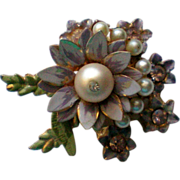 SALE Enameled Signed Coro Flower Pin with Faux Pearls
