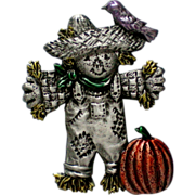 SALE Halloween Scarecrow with Pumpkin Pin