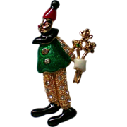 SALE Enameled Clown Figural Pin
