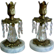 Italian Marble Brass Candlesticks with Dangling Prisms