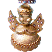 SALE Dodds Christmas Angle Pin with Rhinestone Halo & Wings
