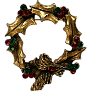 SALE Brass Holly Wreath Pin with Red & Green Rhinestones