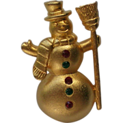 SALE Tie Tack Pin Snowman with Red & Green Buttons