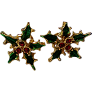 REDUCED Holly Leaves & Berries Earrings for Christmas Holidays