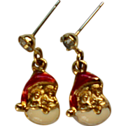 SALE Miniature Santa Pierced Earrings for Christmas / Holidays
