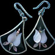 SALE Mexican Silver Abalone MOP Shell Pierced Earrings