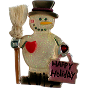 SALE Happy Holiday Snowman with Broom Pin