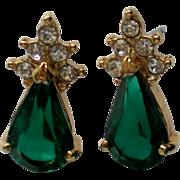 SALE Emerald Green Rhinestone Pierced Earrings for Holidays