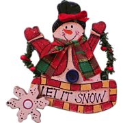 SALE Wooden Snowman Pin for Winter Holidays