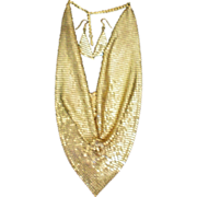 SALE Whiting & Davis Gold Mesh Necklace & Pierced Earrings