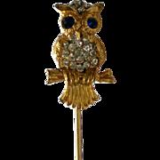 SALE Pave' Rhinestone Owl Stick Pin