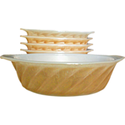 "SALE Anchor Hocking Peach Lustre / Copper Swirl 5"" Baking Dish"