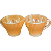 REDUCED Fire King Anchor Hocking Swirl Pattern Peach Cups