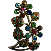 SALE Art Nuevo Pot Metal Colored Rhinestone Floral Brooch