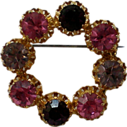 SALE Austrian Crystal Circle Brooch