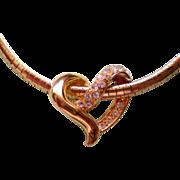 SALE Floating Heart Slider Necklace Signed NR