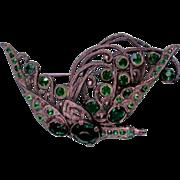 SALE Art Deco Pot Metal Phoenix Bird Pin with Green Rhinestones