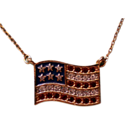 SALE American Flag Pendant Necklace