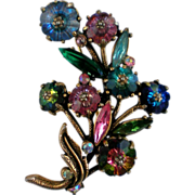 SALE Watermelon Rivoli Rainbow Floral Brooch