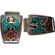 SALE Native American Thunderbird Turquoise / Coral Watch Band Tips