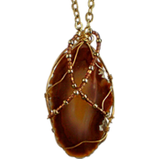 SALE Wire Wrapped Brown Agate Stone Pendant