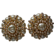 SALE Large FAZIO faux Pearl Clip Earrings