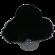 SALE Black Velvet Hat trimmed in Black Fox Fur