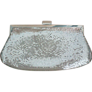 SALE Silver Metal Mesh Clutch Evening Bag with Shoulder Chain