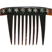 SALE Small Cellulose Comb with Rhinestone Accents