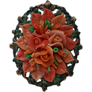 SALE Copper Mounted Molded Celluloid Coral Roses Pin / Pendant