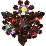 SALE Pink Aurora Borealis Stone Brooch