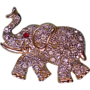 SALE Lucky Elephant Rhinestone Brooch
